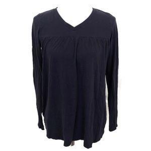 Vince. Women's Navy Blue V-Neck Long Sleeve Top